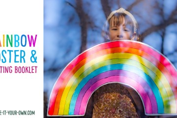 Print out free templates to make a giant rainbow to hang in your window or on your wall with these printables. (We have options for a 1 page, 4 page and 6 page version). There is a coloured version to decorate (we show you one idea with scrunched tissue paper) with craft supplies (you could use buttons, beads, poms poms etc.) or a blank version for you to paint or colour. Along with this, we have a rainbow writing booklet where you can write a rainbow narrative (we include a story planning sheet), describe how a rainbow is made (informational writing) or write a thank you note!