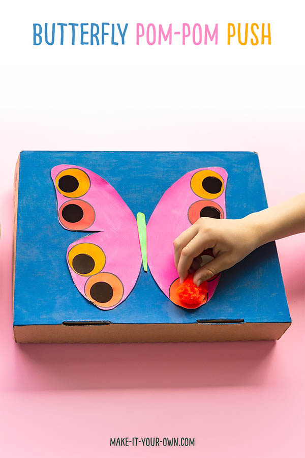 BUTTERFLY POM POM PUSH: This is a great way to practice one's fine motor skills and introduce colour matching as well! This recycled craft is lovely for spring or to go along with a Butterfly unit for Preschool or Kindergarten. #butteflycraft #recycledcraft #finemotorskills #finemotorskilldevelopment #finemotorskillactivity #resuse #preschool #kindergarten