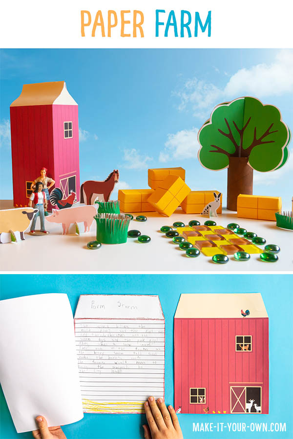 This printable paper farm transforms a 2L milk or beverage carton into a barn and then provides with you with various printables to create a farm! Also included is a lined barn and cover page for writing your own story, extending your play! * All items come in a coloured version and one you can colour yourself* The templates included are: 1) Standing paper animals 2) Stackable hay bales 3) Paper roads that connect together 4) Paper train tracks to connect together 5) A paper pond 6) 3D paper trees 7) Writing booklet (lined pages & cover) 8) Story planner #papercrafts #papercraft #farm #downonthefarm #farmtheme #milkcartoncraft #recycledcraft #kidscrafts #writingbooklet