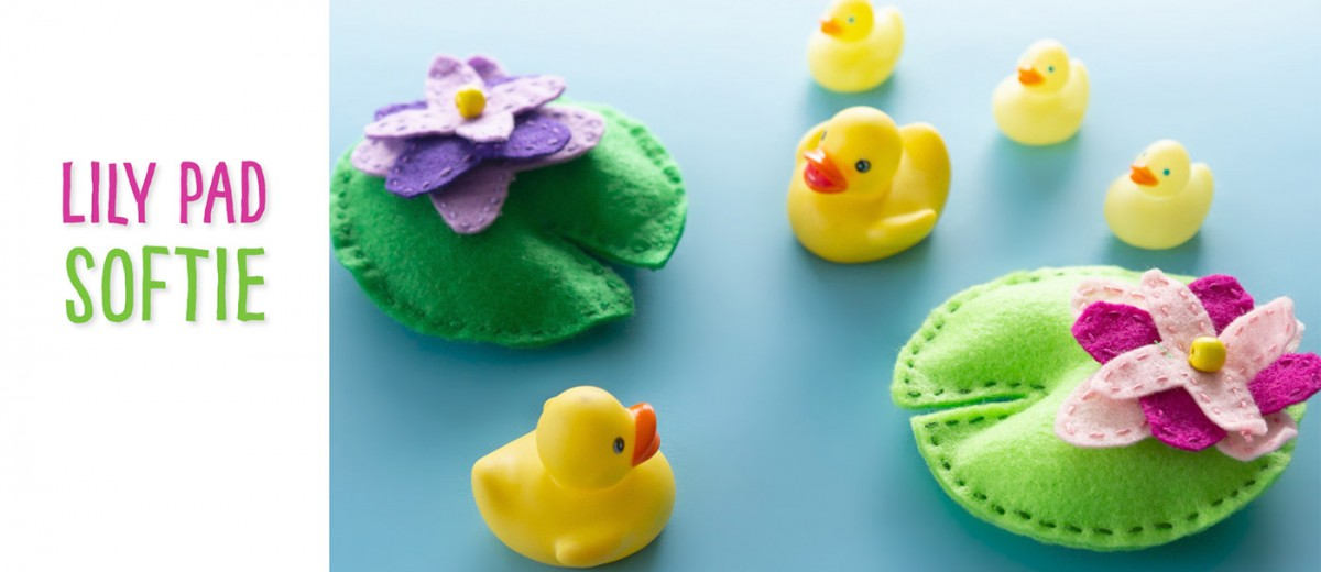 With the provided template and how-to video, sew your own lily pad softie for small world play with your toys or figurines!
