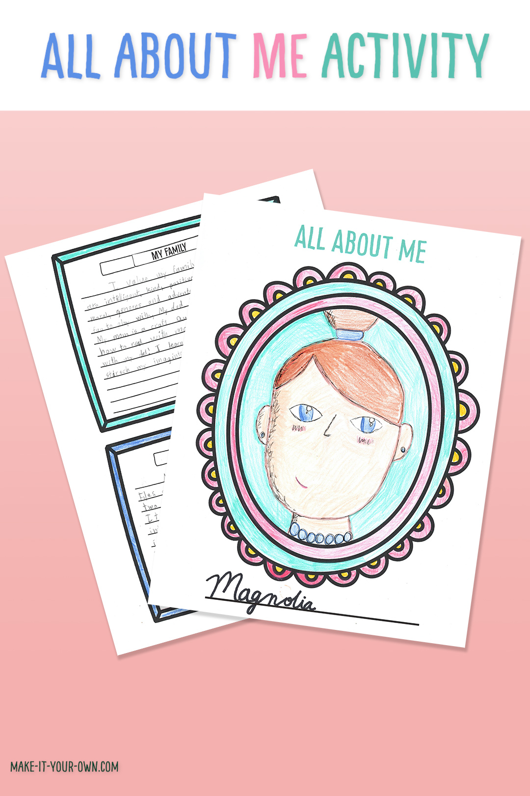 Printable All About Me Activity for homeschooling or in the classroom!  This self portrait and writing template comes with a page of writing prompts perfect for getting to know you, building community and getting back to school! #printable #printables #allaboutme #backtoschool #writingactivity #homeschooling  #selfportrait #onlineschooling #freeprintable