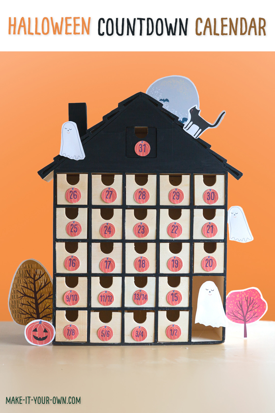 Halloween Countdown House:  Use the free printables to transform this advent calendar into a Haunted House Halloween countdown for kids!  This makes a fun craft to do together and a trick-or-treat alternative!