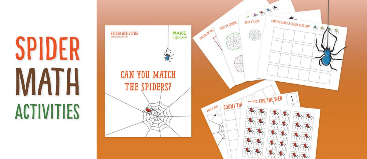 "Using the printables, children can practise these math skills through a Halloween theme: - Counting within a 10 frame - Patterning - Sorting (by size and colour) - Adding through a ""Roll and Count"" game and matching through attributes. And an activity just for fun: spider tic tac toe!"