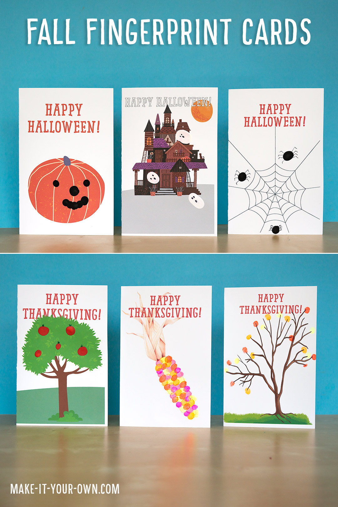 Fall Fingerprint Cards: We provide you the templates to make cards with your child's fingerprints for Thanksgiving and Halloween! This is a personal way to say hello to Grandma and Grandpa, for friends and neighbours! This simple seasonal craft allows children to practise their writing skills in meaningful ways! #fallcraft #thanksgivingcraft #halloweencraft