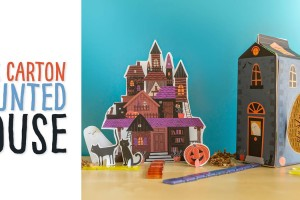 Milk Carton Haunted House: Use a beverage carton to make this recycled Halloween craft! These printables are great for kids' to make and play with, making their own small world! (Printable includes play props as well)