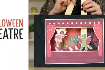 Halloween Puppet Theatre: Use the printables to make this paper stick puppet theatre out of a recycled cardboard box and paint stir sticks (or popsicle sticks/ tongue depressors). This kids' craft is a fun make and play for Halloween celebrations! #halloween #kidshalloween #kidshalloweencraft #kidscraft #stickpuppets #puppet #puppetheatre #dramaticplay #preschool #kindergarten #preschoolhalloweencraft #kindergartenHalloweencraft #recycledcraft #fallcraft #trickortreaters
