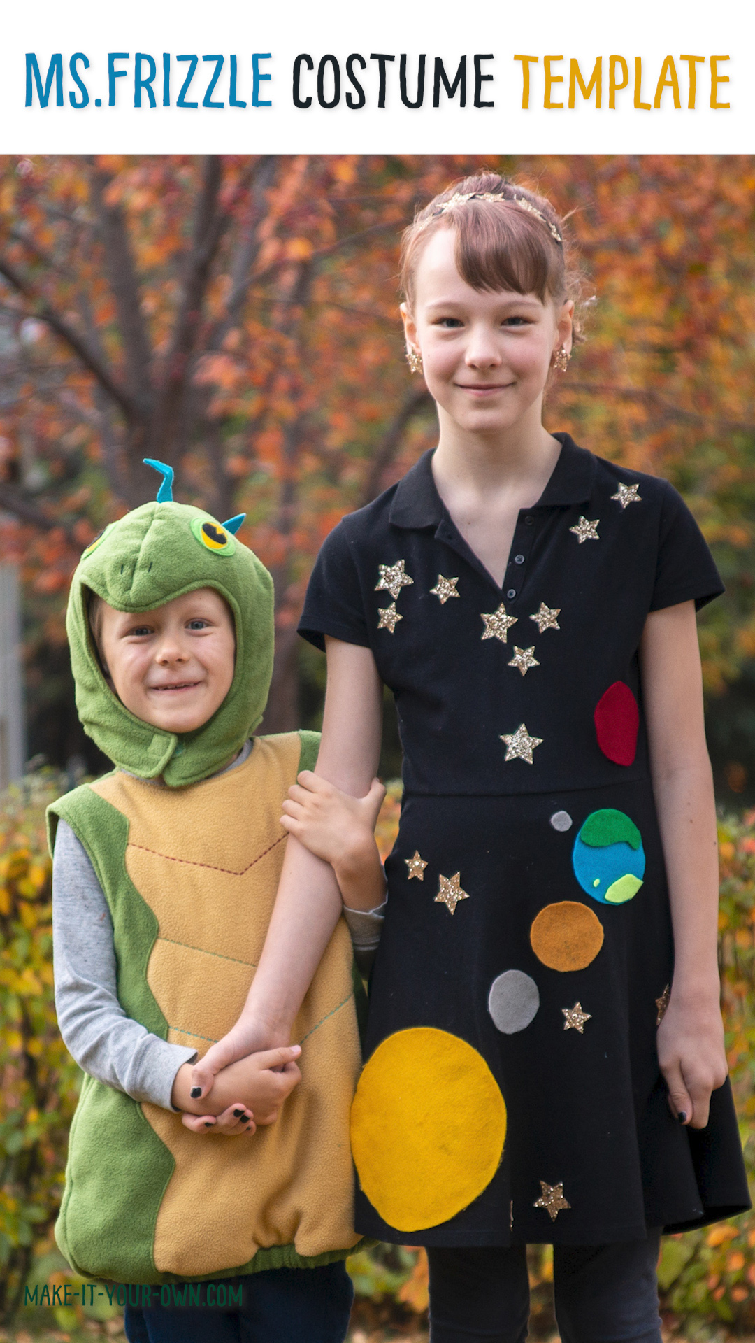 Ms. Frizzle Halloween or Book Character Day Space Costume with Printable Templates #halloweencostume #magicschoolbus #bookcharactercostume #bookday #bookweek #bookcharacter #teachercostume #kidscostume #spacecostume #costumetemplate #costumepattern #msfrizzle