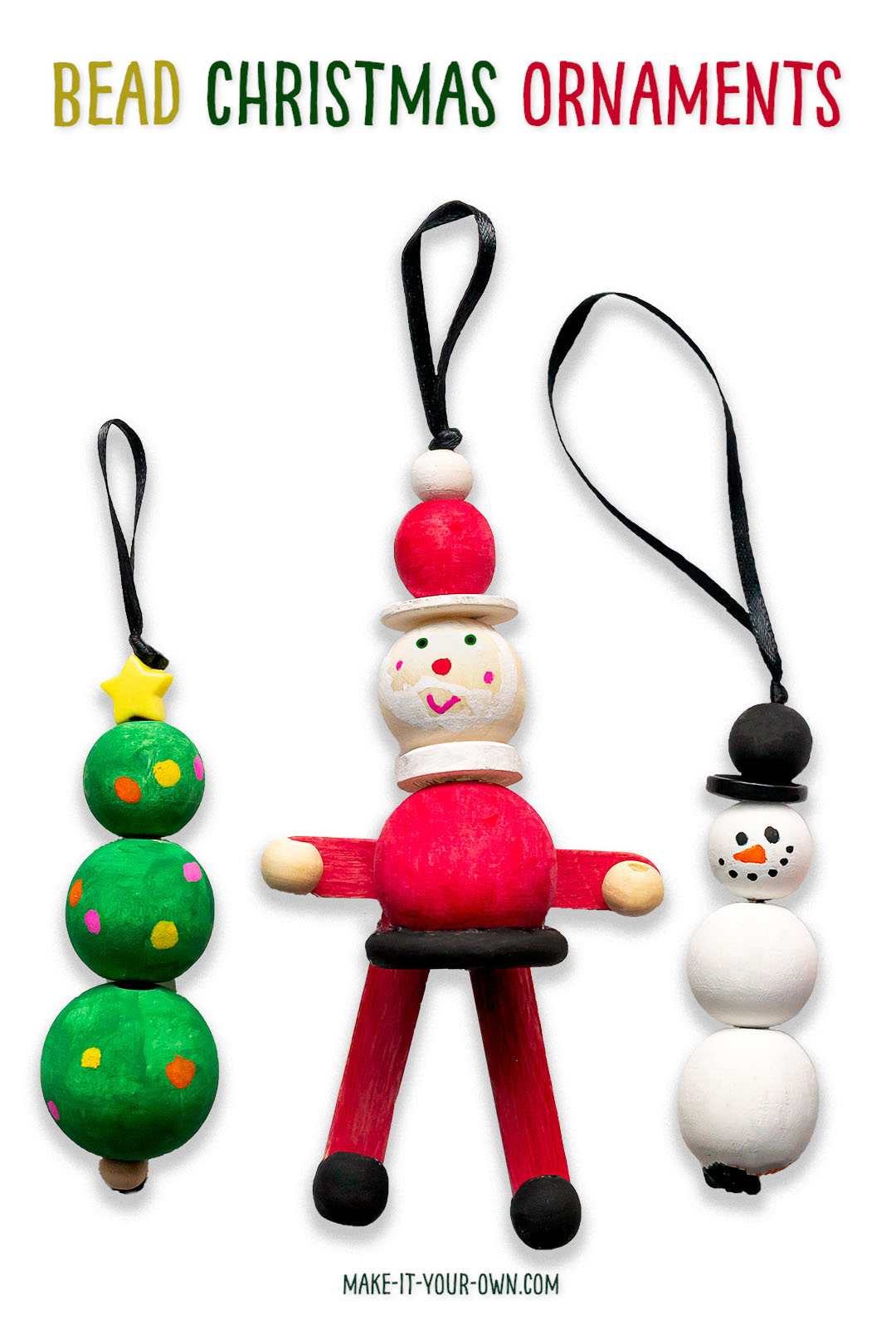 Beaded Christmas Ornaments: We show you how to make a snow person/ snowman, Santa and a Christmas tree ornament all out of wooden beads!  These cute holiday ornaments make a wonderful children's craft (and develop their fine motor skills in the process).  See the video tutorial with the steps on our website. #christmas #christmasornament #ornament #hoidays #holidayornament #beadedornament #beadornament #beadcraft #kidcraft #kidscraft #santa #christmastree #snowman #snowperson #crafttutorial #craftinstructions #christmascraft