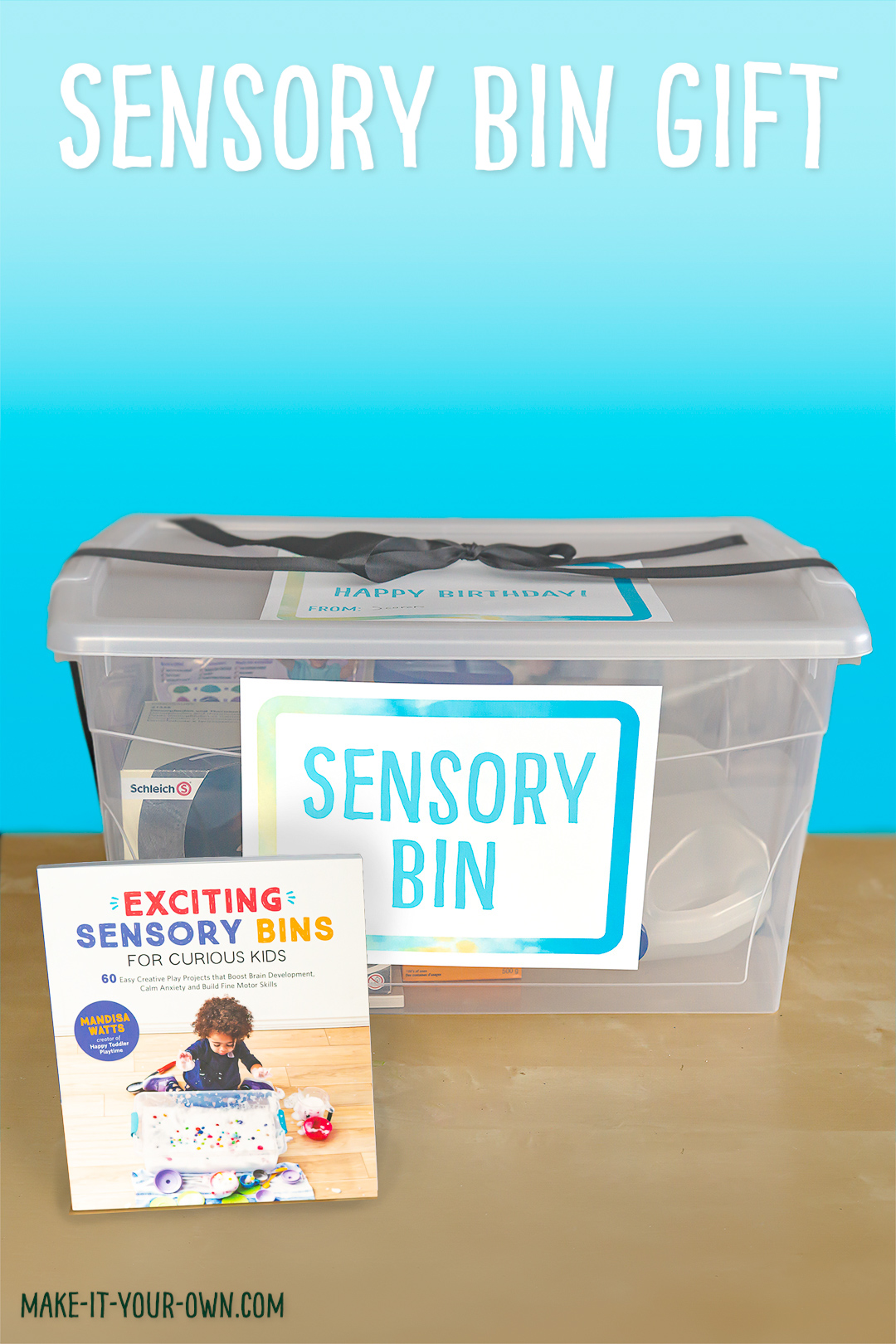 Sensory Bin Labels (as well as a Happy Holidays and a Happy Birthday label and a book suggestion for yours!)
