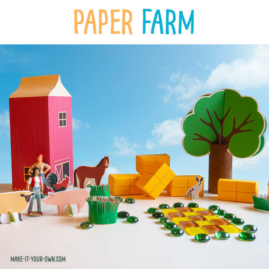 his printable paper farm transforms a 2L milk or beverage carton into a barn and then provides with you with various printables to create a farm! Also included is a lined barn and cover page for writing your own story, extending your play! * All items come in a coloured version and one you can colour yourself* The templates included are: 1) Standing paper animals 2) Stackable hay bales 3) Paper roads that connect together 4) Paper train tracks to connect together 5) A paper pond 6) 3D paper trees 7) Writing booklet (lined pages & cover) 8) Story planner #papercrafts #papercraft #farm #downonthefarm #farmtheme #milkcartoncraft #recycledcraft #kidscrafts #writingbooklet