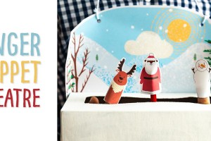 Finger Puppets and a Recycled Kleenex Box Theatre! Included are printable characters (Santa, Reindeer and Woodland Animals) and a background scene (one winter-y and one you can design yourself) to attach to your recycled Kleenex tissue box stage to make a theatre!
