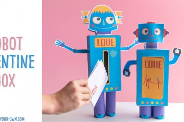 Robot Valentine's Day Box: With these printables and recyclables (a Kleenex tissue box and cardboard tubes), make these adorable Valentine boxes! Additionally, there are two card options for school Valentine's Day cards! This kids' Valentine' Day craft is one to surely impress!