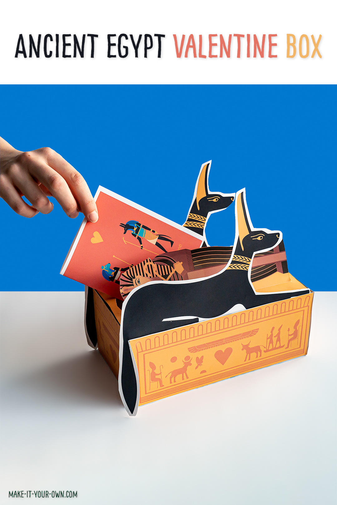 Ancient Egypt Valentine's Day Box: With these free printables and a Kleenex tissue box, make these fun sarcophagus to store your Valentine's Day cards! Included is two options for printable cards as well!